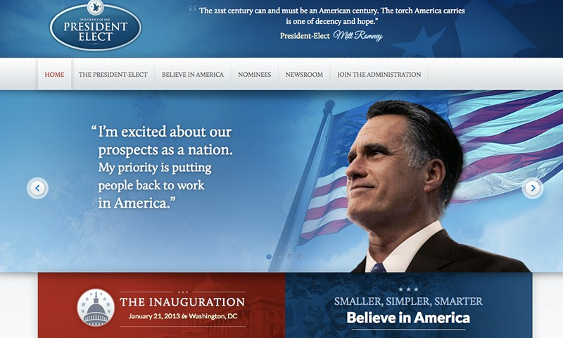 Romney accidently publishes victory website