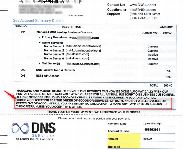 DNS Services Scam bill mail copy