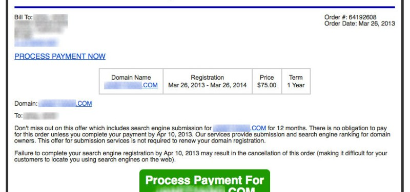 domain name expiration notice email scam
